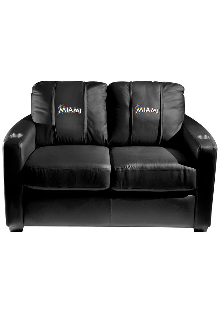 Miami Marlins MLB Silver Loveseat Love Seat - Image 1