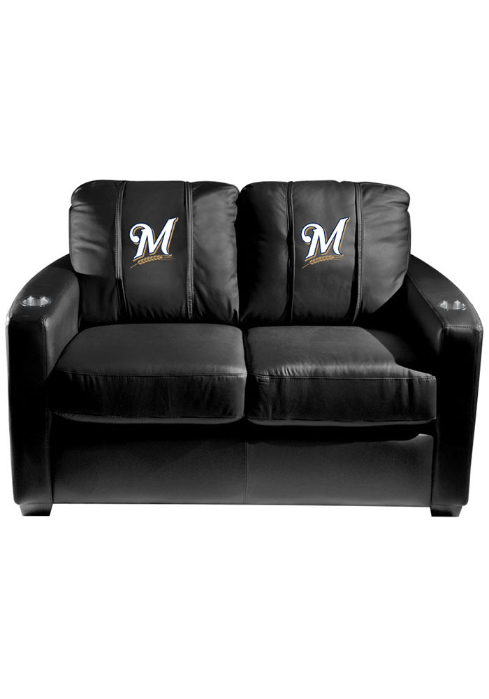 Milwaukee Brewers MLB Silver Loveseat Love Seat - Image 1