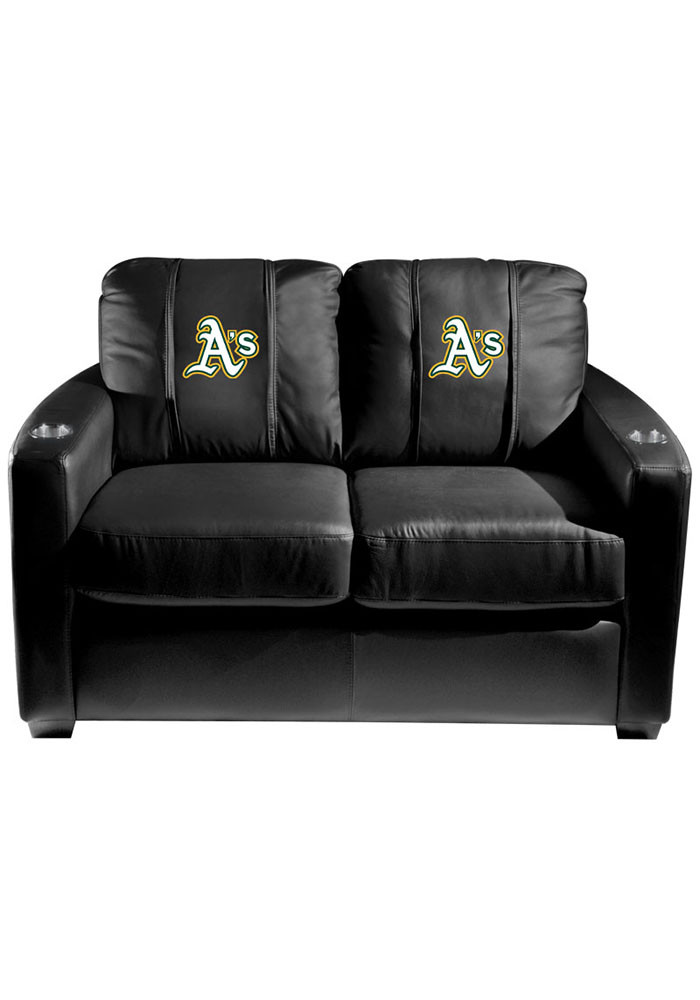 Oakland Athletics MLB Silver Loveseat Love Seat - Image 1