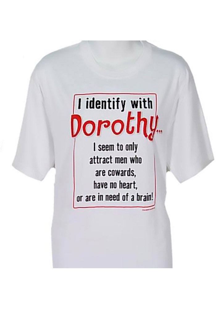 4d9666eceb84f Wizard of Oz Womens White Identify With Dorothy Short Sleeve T Shirt