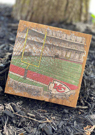 Kansas City Chiefs Stadium Sketch 6X6 Block Sign