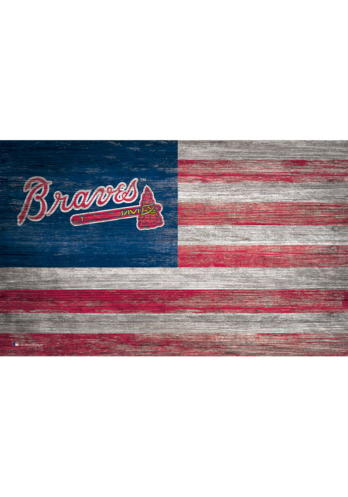 Atlanta Braves Distressed Flag 11x19 Sign - Image 1