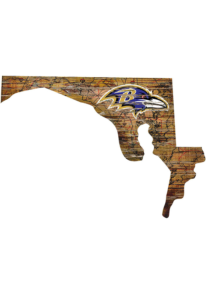 Baltimore Ravens Distressed State 24 Inch Sign - Image 1
