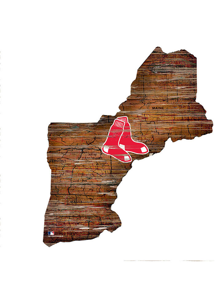 Boston Red Sox Distressed State 24 Inch Sign - Image 1