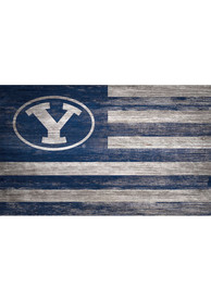 BYU Cougars Distressed Flag 11x19 Sign