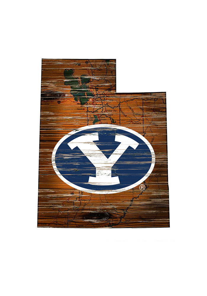 BYU Cougars Distressed State 24 Inch Sign