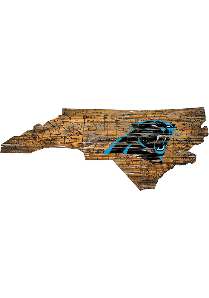 Carolina Panthers Distressed State 24 Inch Sign - Image 1