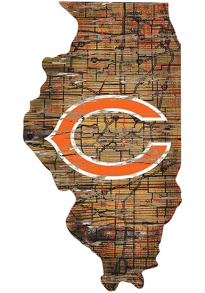 Chicago Bears Distressed State 24 Inch Sign - Image 1