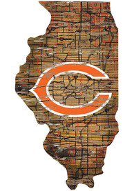 Chicago Bears Distressed State 24 Inch Sign