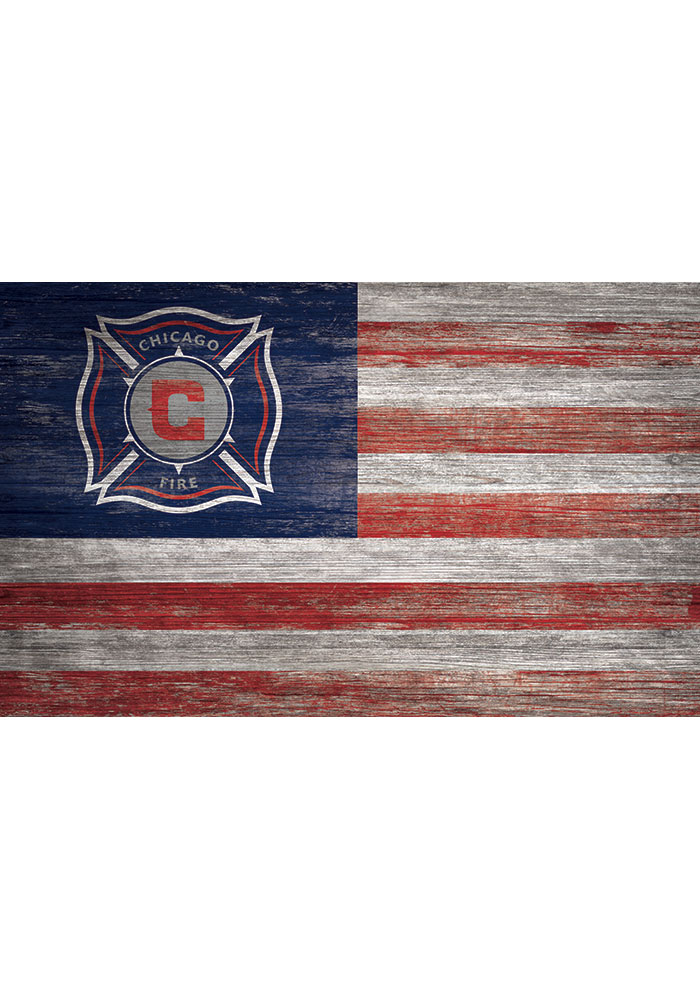 Chicago Fire Distressed Flag 11x19 Sign - Image 1