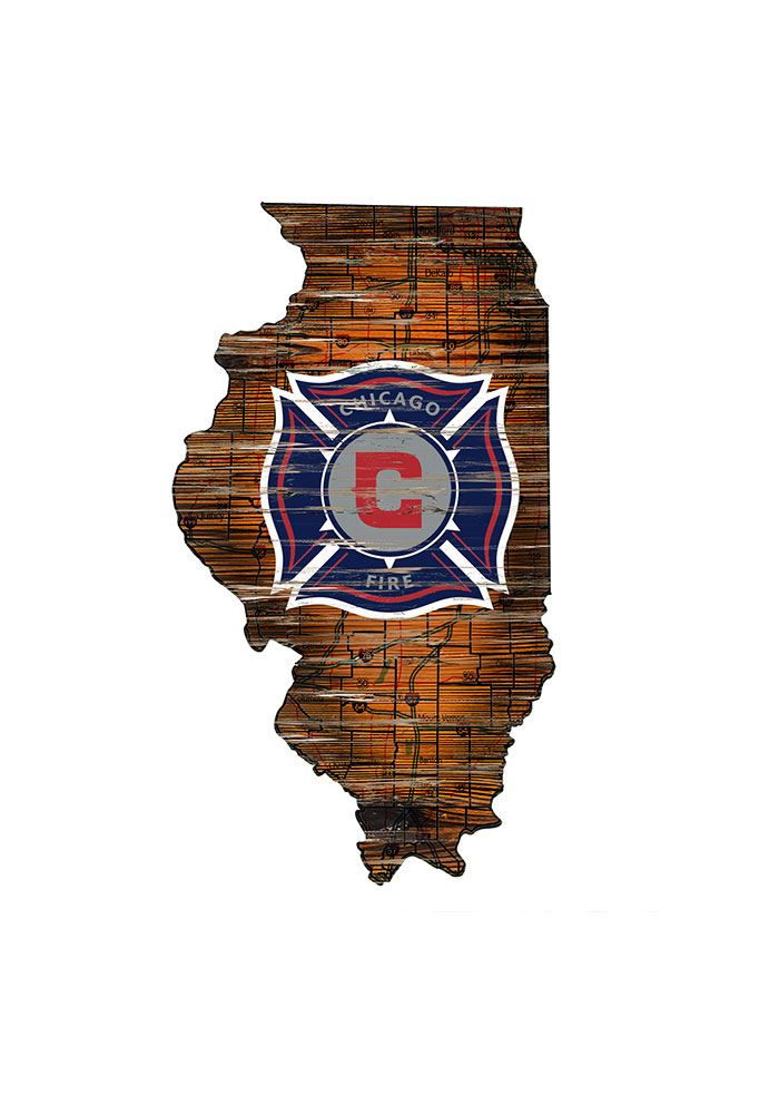 Chicago Fire Distressed State 24 Inch Sign - Image 1