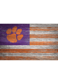 Clemson Tigers Distressed Flag 11x19 Sign
