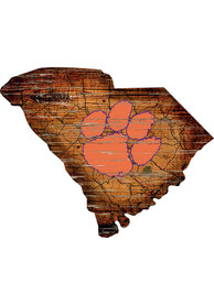Clemson Tigers Distressed State 24 Inch Sign