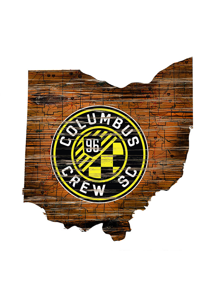 Columbus Crew Distressed State 24 Inch Sign - Image 1