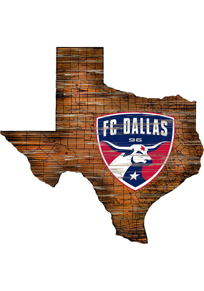 FC Dallas Distressed State 24 Inch Sign - Image 1