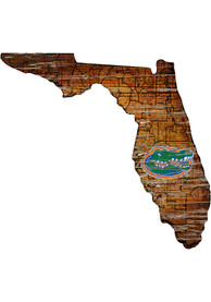 Florida Gators Distressed State 24 Inch Sign