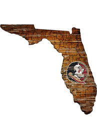 Florida State Seminoles Distressed State 24 Inch Sign