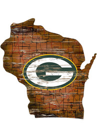 Green Bay Packers Distressed State 24 Inch Sign