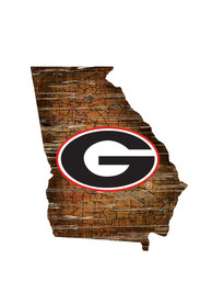 Georgia Bulldogs Distressed State 24 Inch Sign
