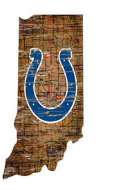 Indianapolis Colts Distressed State 24 Inch Sign