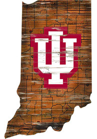 Indiana Hoosiers Distressed State 24 Inch Sign