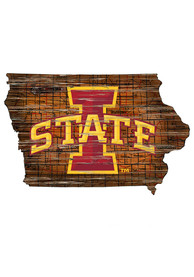 Iowa State Cyclones Distressed State 24 Inch Sign