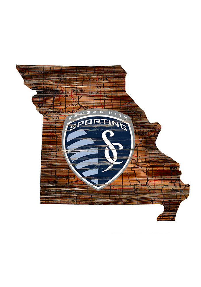 Sporting Kansas City Distressed State 24 Inch Sign - Image 1