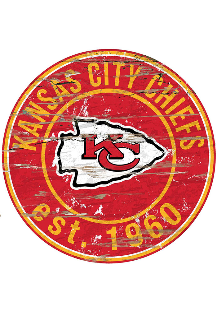 Kansas City Chiefs Established Date Circle 24 Inch Sign - Image 1