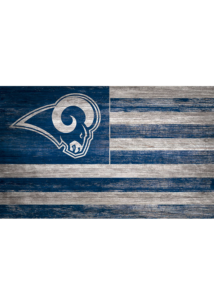 Los Angeles Rams Distressed Flag 11x19 Sign - Image 1
