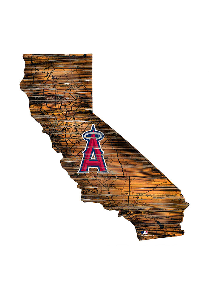 Los Angeles Angels Distressed State 24 Inch Sign - Image 1