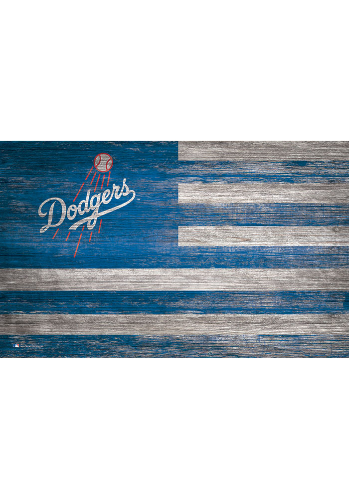 Los Angeles Dodgers Distressed Flag 11x19 Sign - Image 1