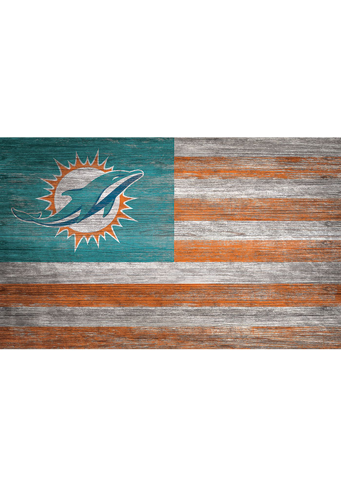 Miami Dolphins Distressed Flag 11x19 Sign - Image 1