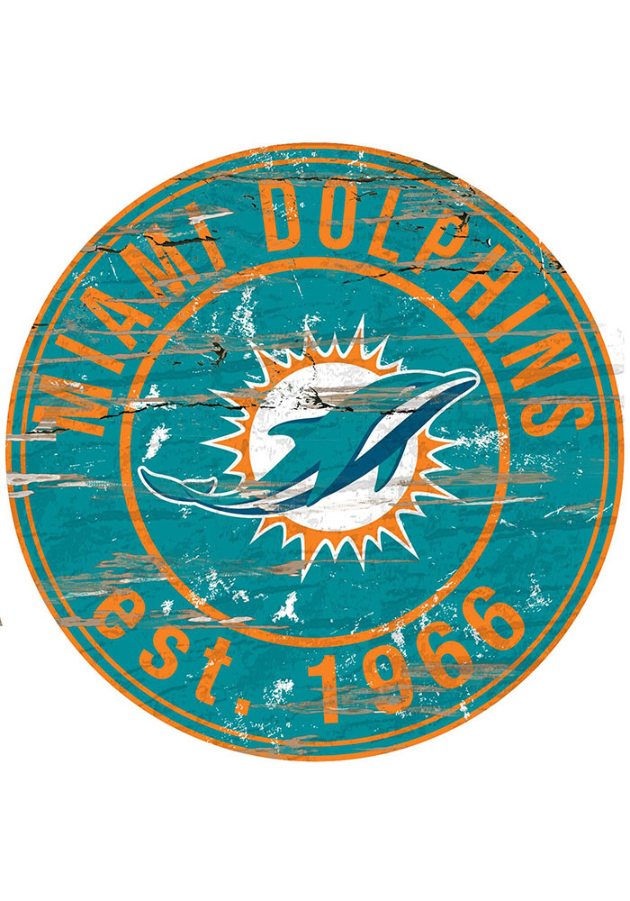 Miami Dolphins Established Date Circle 24 Inch Sign - Image 1