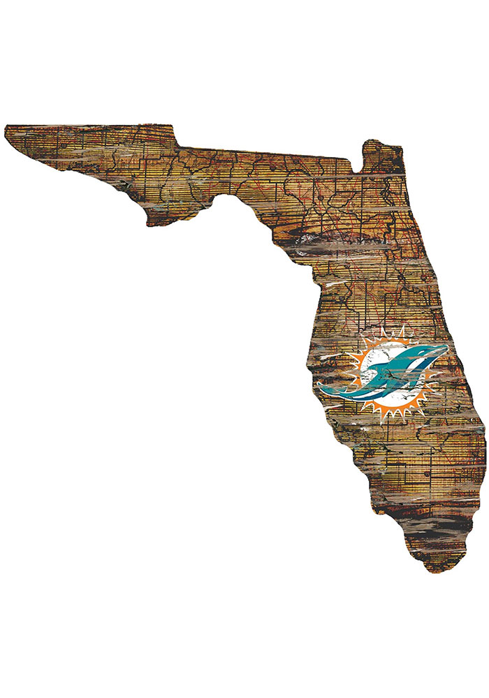 Miami Dolphins Distressed State 24 Inch Sign - Image 1
