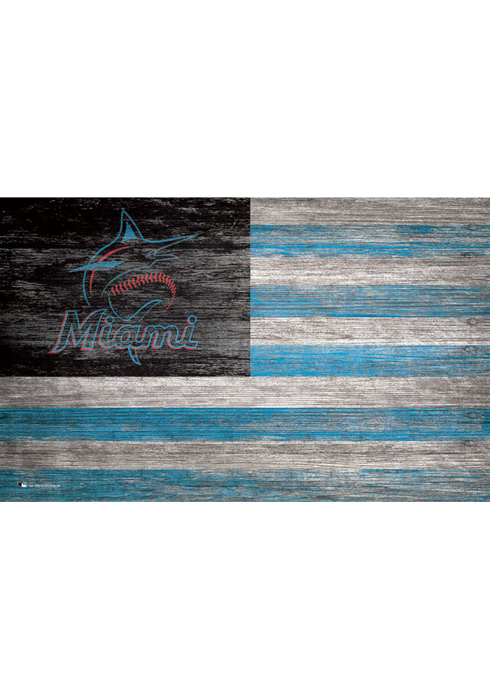 Miami Marlins Distressed Flag 11x19 Sign - Image 1