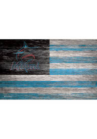 Miami Marlins Distressed Flag 11x19 Sign