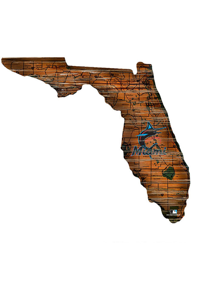 Miami Marlins Distressed State 24 Inch Sign - Image 1