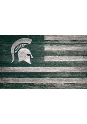 Michigan State Spartans Distressed Flag 11x19 Sign