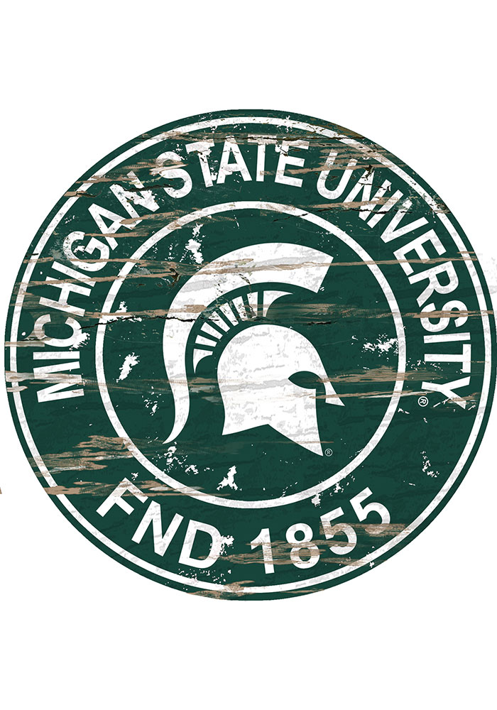 Michigan State Spartans Established Date Circle 24 Inch Sign - Image 1