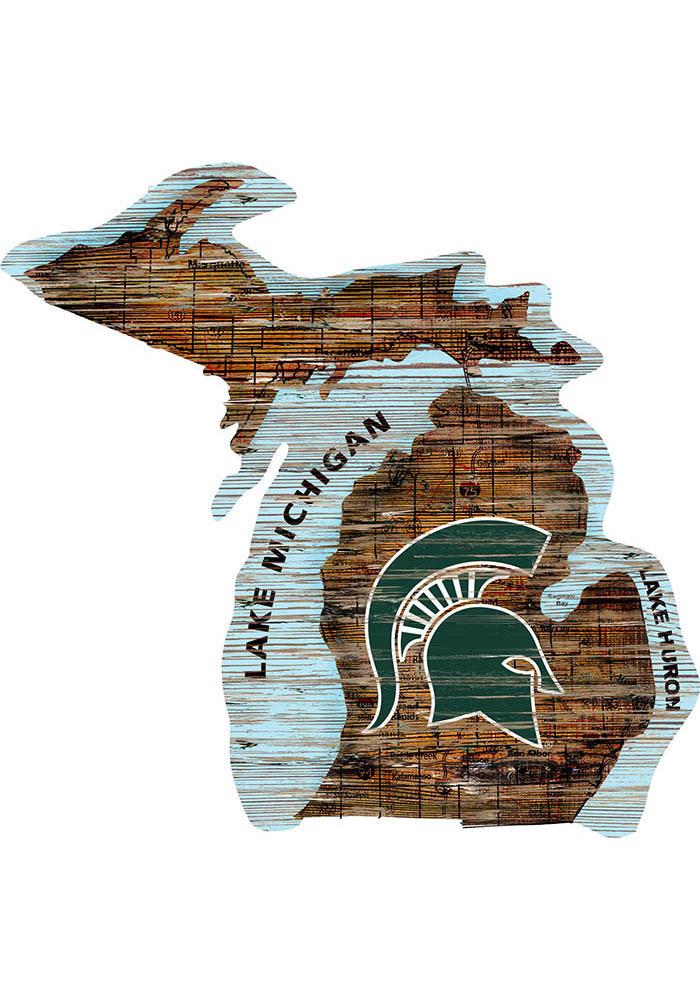 Michigan State Spartans Distressed State 24 Inch Sign - Image 1
