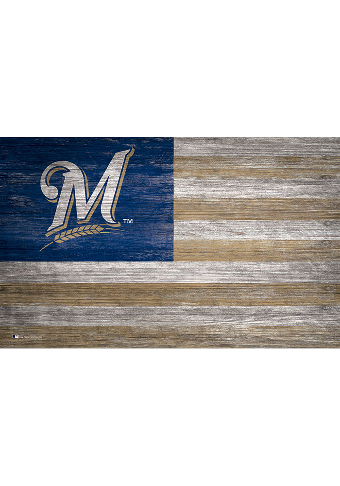 Milwaukee Brewers Distressed Flag 11x19 Sign - Image 1