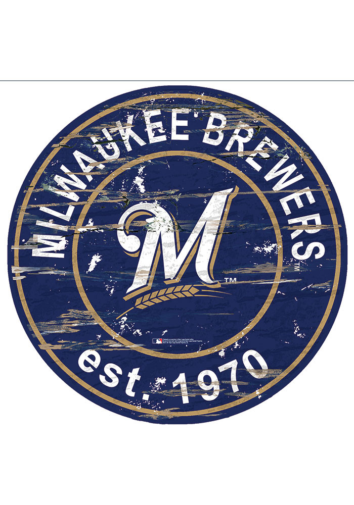 Milwaukee Brewers Established Date Circle 24 Inch Sign - Image 1