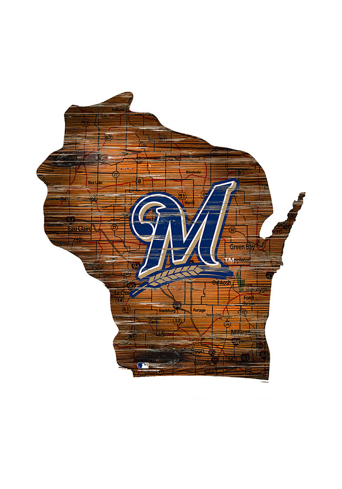 Milwaukee Brewers Distressed State 24 Inch Sign - Image 1