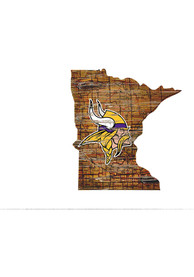 Minnesota Vikings Distressed State 24 Inch Sign