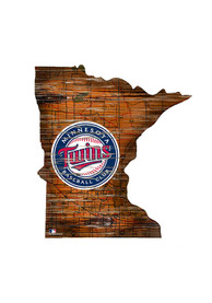 Minnesota Twins Distressed State 24 Inch Sign
