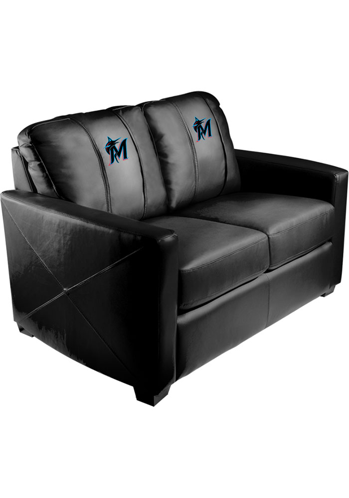 Miami Marlins Faux Leather Love Seat - Image 1