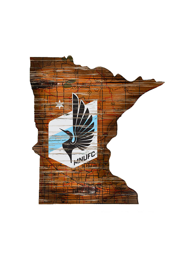 Minnesota United FC Distressed State 24 Inch Sign