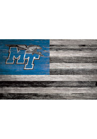 Middle Tennessee Blue Raiders Distressed Flag 11x19 Sign