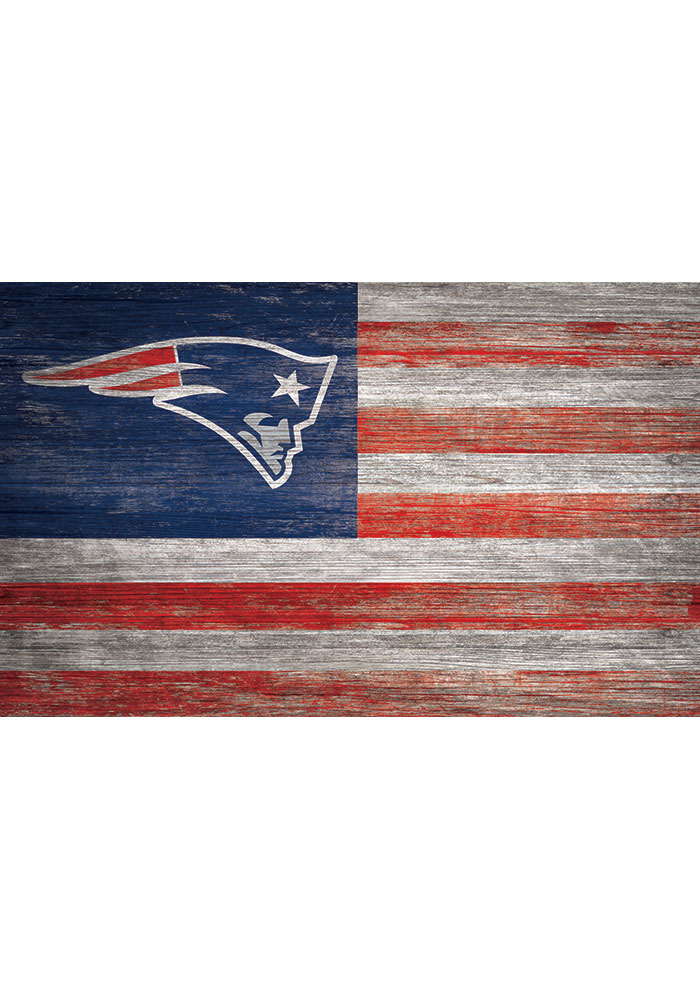 New England Patriots Distressed Flag 11x19 Sign - Image 1