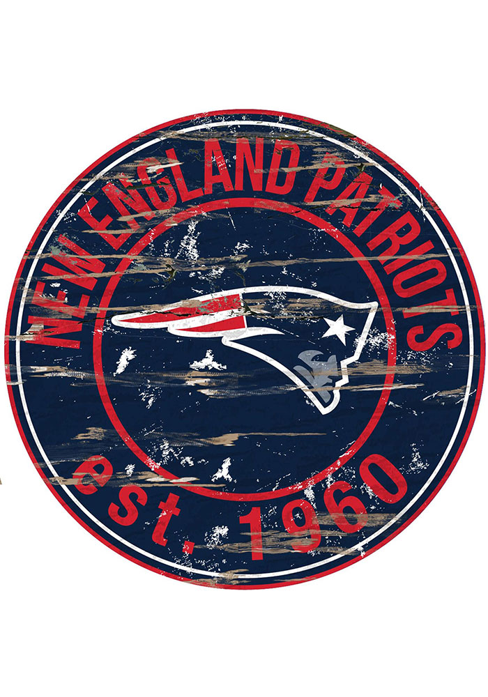New England Patriots Established Date Circle 24 Inch Sign - Image 1